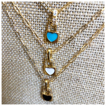 Load image into Gallery viewer, Tiny enamel heart lock necklace