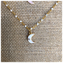 Load image into Gallery viewer, Enamel tiny crescent moon necklace