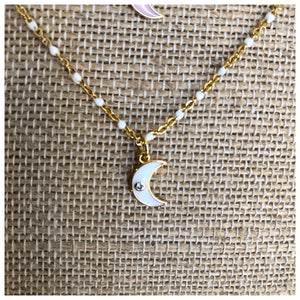 Enamel tiny crescent moon necklace