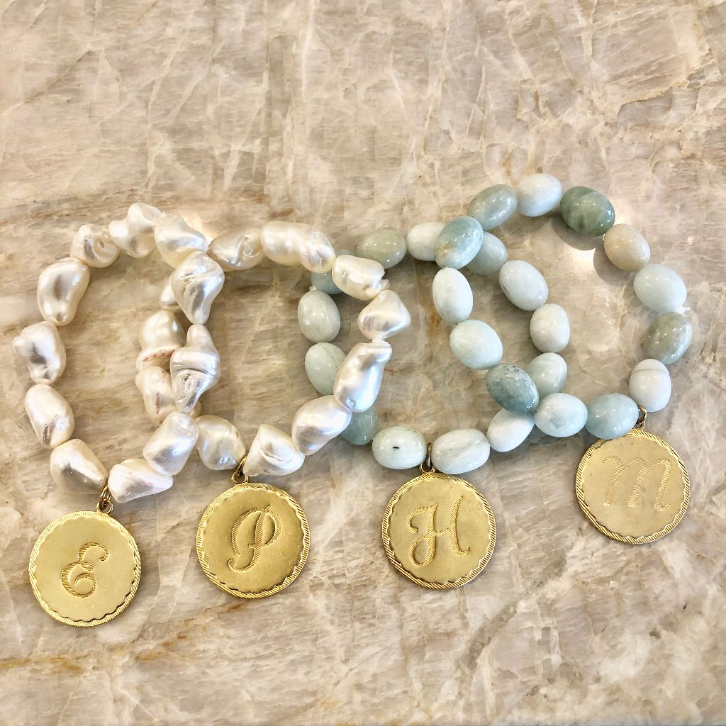Mother of Pearl or Amazonite initial nugget charm bracelet