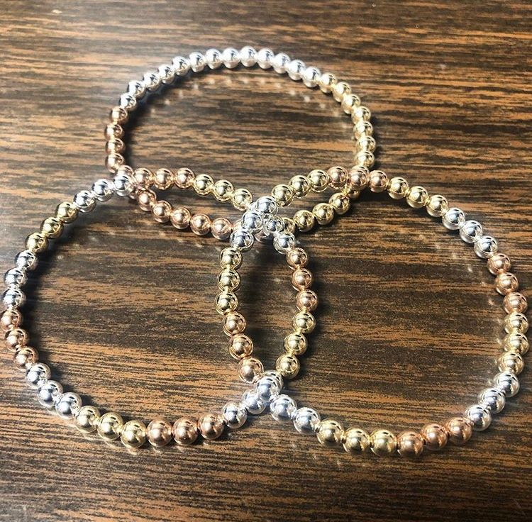 Tri color bead bracelets