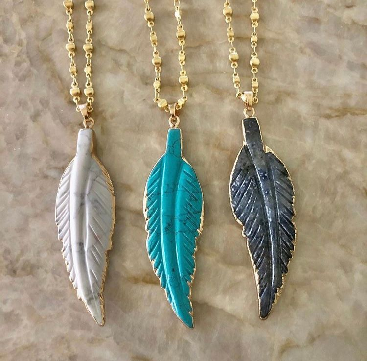 Gemstone feather necklace