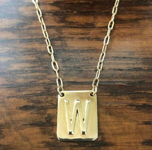 Load image into Gallery viewer, Initial tablet tag necklace