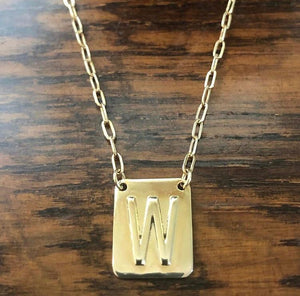 Initial tablet tag necklace