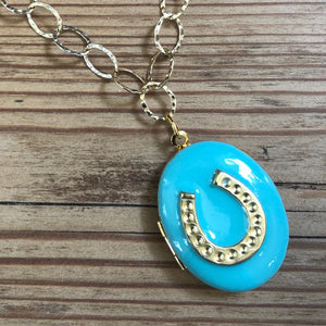 Enamel lucky horseshoe locket necklace