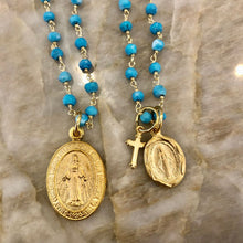 Load image into Gallery viewer, Turquoise Layering chains with Lord's Prayer locket or Virgin Mary & Cross