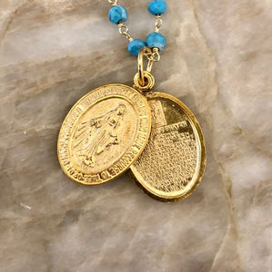 Turquoise Layering chains with Lord's Prayer locket or Virgin Mary & Cross