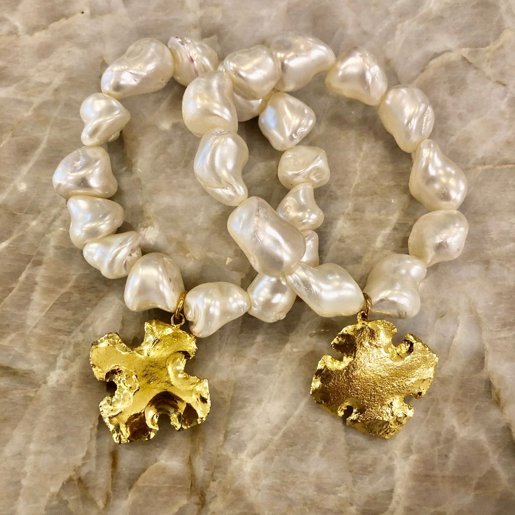 Mother of Pearl stretch nugget bracelet with Gold French Cross charm
