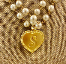 Load image into Gallery viewer, Genuine Gemstone rosary chain with 14K gold plated personalized heart charm