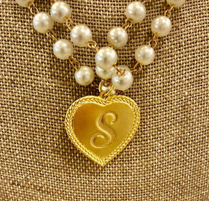 Genuine Gemstone rosary chain with 14K gold plated personalized heart charm