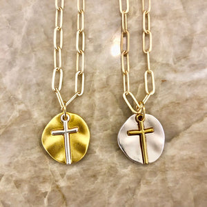 Brushed 14K Gold Plated paper clip chain With brushed gold or silver rustic cross charm
