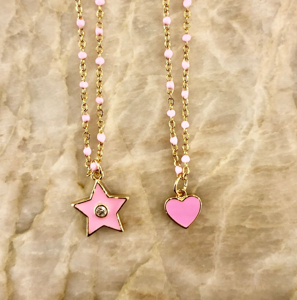 Pink hand enameled chain necklace