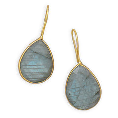 Pasha Solid Wire Teardrop Earrings - Labradorite