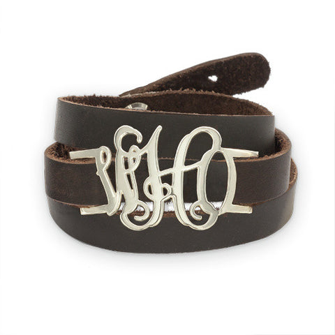 Leather Wrap Monogrammed Sterling Script  Bracelet