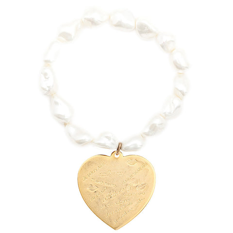 "Gemstone Mother of Pearl Nugget Maxi "" I Love You"" Heart Bracelet"