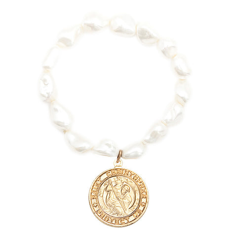 Gemstone Mother of Pearl Nugget Saint Christopher Bracelet