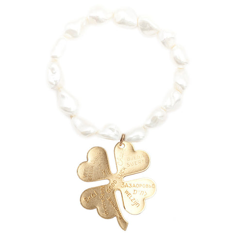 "Gemstone Mother of Pearl Nugget Maxi "" Good Luck "" Clover Bracelet"