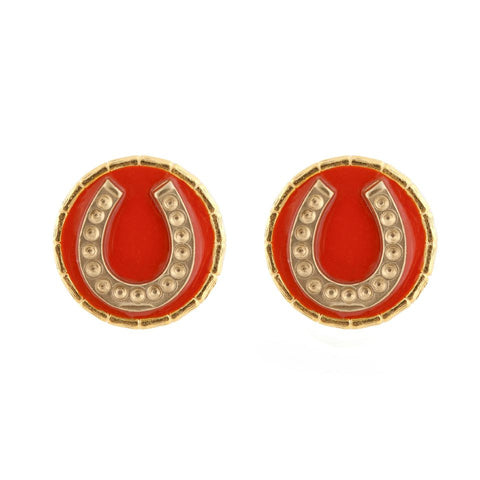 Enamel Button Charm Earrings - Horseshoe