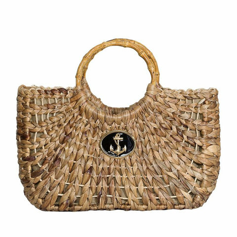 Straw Boat Tote - Medium - Anchor