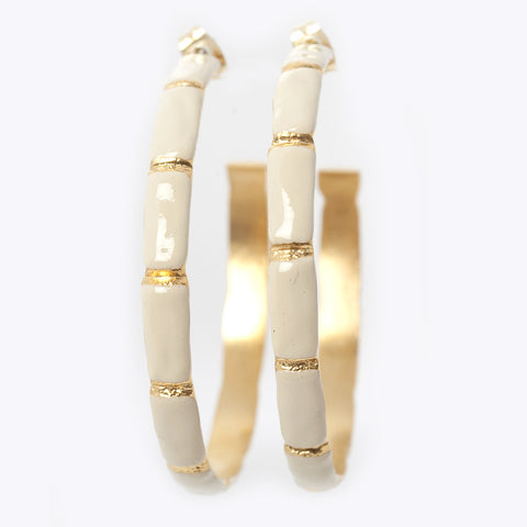 Hoops - Enameled Bamboo Hoops - Cream