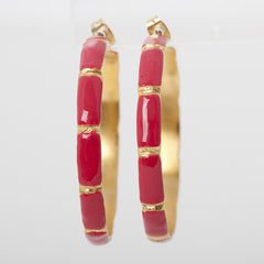 Hoops - Enameled Bamboo Hoops - Hot Pink