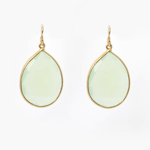 Pasha Teardrop Earrings - Mint Chalcedony