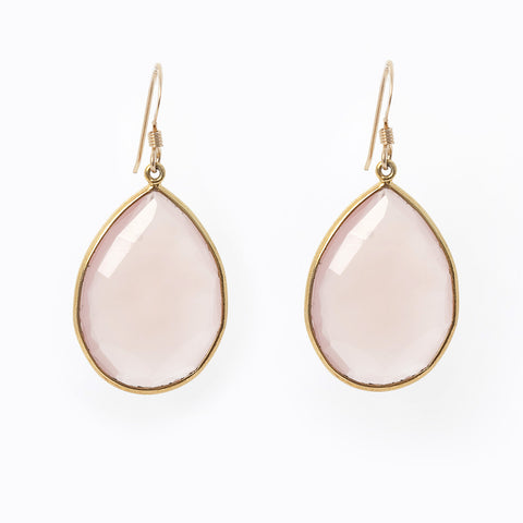 Pasha Teardrop Earrings - Rose Quartz