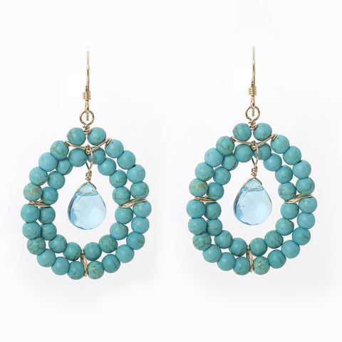 Kallie Beaded Double Row Earrings - Turquoise
