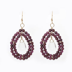 Kallie Earrings Double Row Earrings - Garnet
