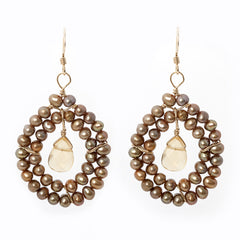 Kallie Beaded Double Row Earrings - Golden Pearl