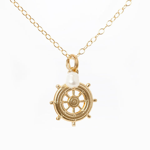 Mini Turquoise/Pearl Charm Necklace - Ship's Wheel