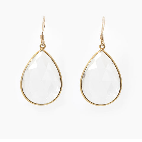Pasha Teardrop Earrings - Clear Quartz
