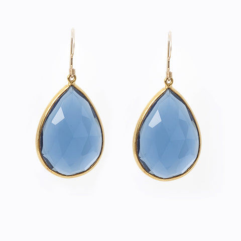 Pasha Teardrop Earrings - Denim Chalcedony
