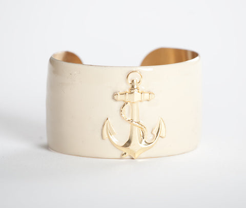 Cuff Bracelet - Cream Anchor