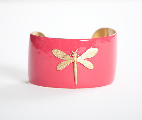 Cuff Bracelet - Pink Dragonfly