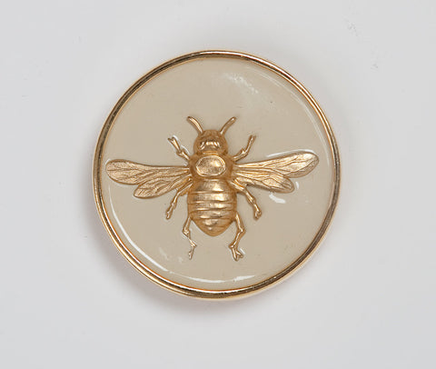 Enamel Bee Buckle - Cream