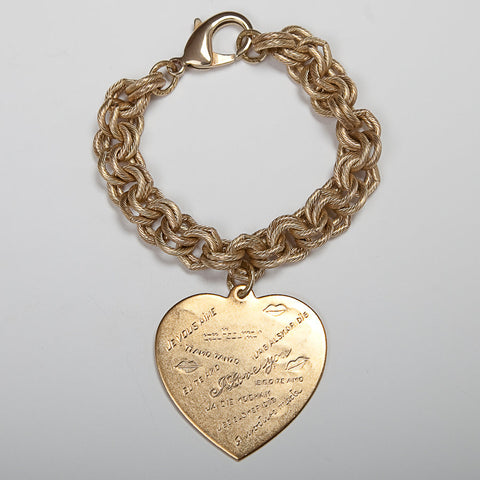 Classic Gold Charm Bracelet - Maxi I Love You Heart