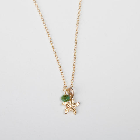 Mini Turquoise/Pearl Charm Necklace - Starfish