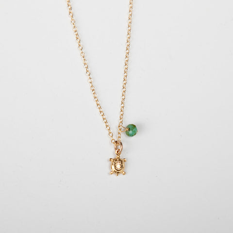 Mini Turquoise/Pearl Charm Necklace - Turtle