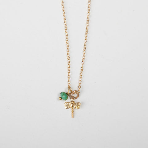 Mini Turquoise/Pearl Charm Necklace - Dragonfly