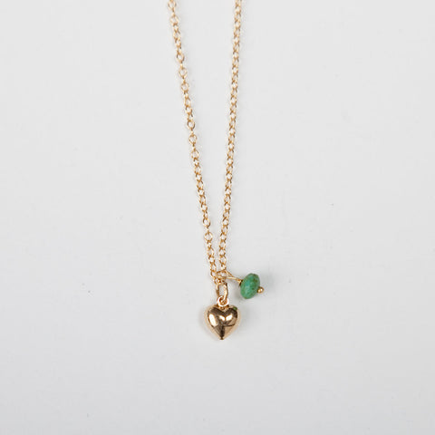 Mini Turquoise/Pearl Charm Necklace - Heart