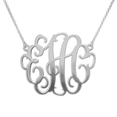 "Monogrammed  Script Necklace - 2"" Sterling Silver"
