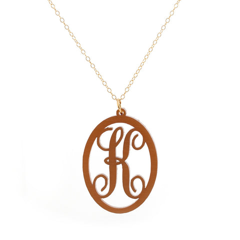 Charm Oval Acrylic Initial Necklace  - Large Brushed Gold