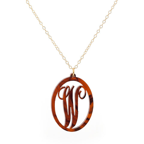 Charm Oval Acrylic Initial Necklace  - Large Tortoise