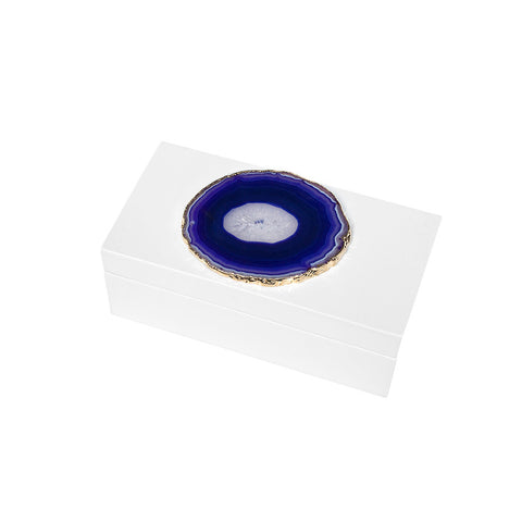 Lacquered Agate Box - White with Purple - Small