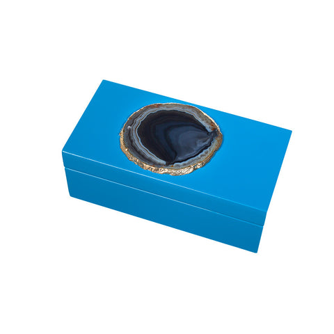 Lacquered Agate Box - Blue - Small