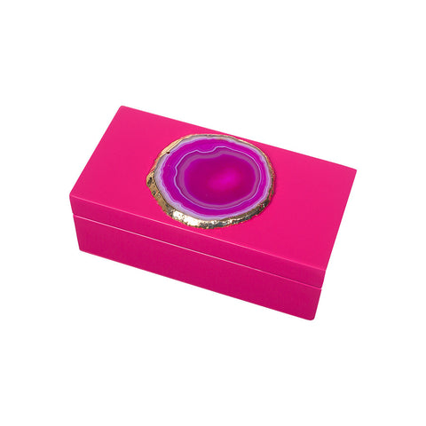 Lacquered Agate Box - Pink - Small