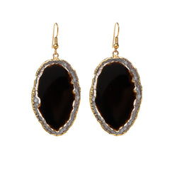 Agate Earrings  - Gold Dipped - Black