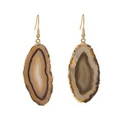 Agate Earrings  - Gold Dipped - Natural