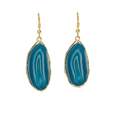 Agate Earrings  - Gold Dipped - Turquoise